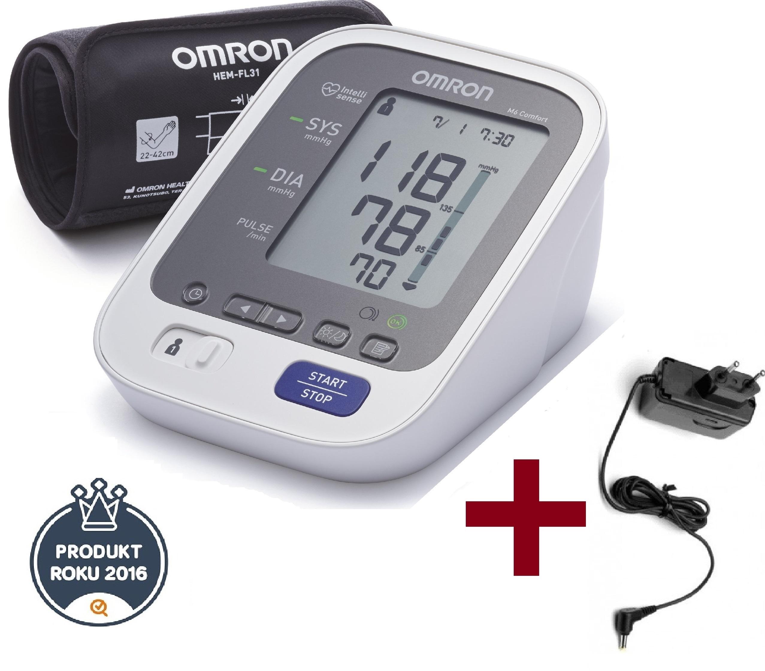 Tlakoměr OMRON M6 Comfort Intelli + zdroj (SET) - 3 roky záruka