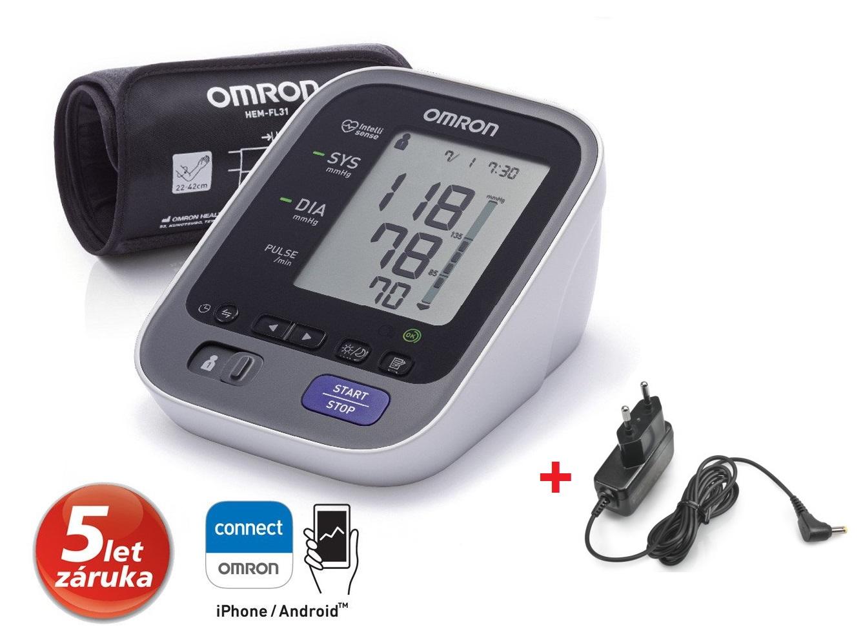 Tlakoměr OMRON M7 Intelli IT s bluetooth připojením + zdroj (SET) - 5 let záruka